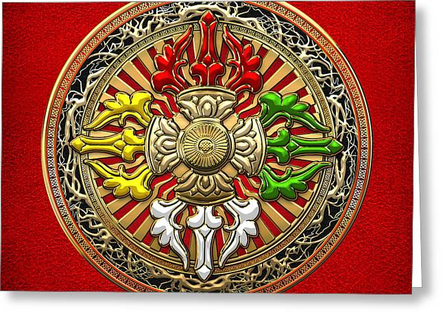 Tibetan Double Dorje Mandala - Double Vajra On Red Leather Greeting Card by Serge Averbukh