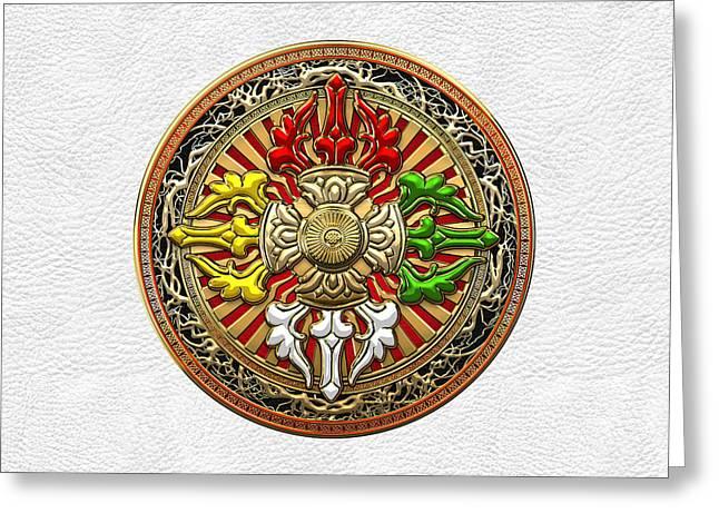 Tibetan Double Dorje Mandala - Double Vajra On White Leather Greeting Card by Serge Averbukh