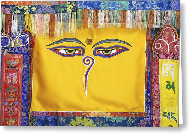 Religious Symbol Greeting Cards - Tibetan Eyes Greeting Card by Tim Gainey