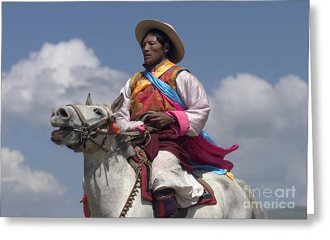 Tibetan Region Greeting Cards - Tibetan Horseman - Litang Horse Festival Tibet Greeting Card by Craig Lovell
