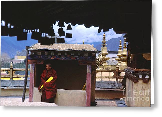 Tibetan Buddhism Greeting Cards - Tibetan Monk with Scroll on Jokhang Roof Greeting Card by Anna Lisa Yoder
