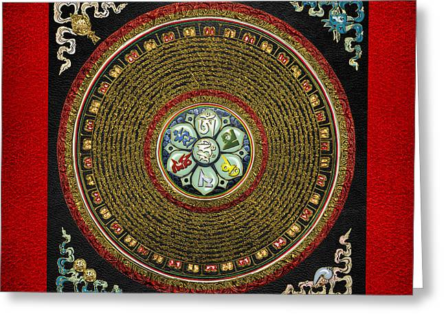 Sacred Religious Art Greeting Cards - Tibetan OM Mantra Mandala in Gold on Black and Red Greeting Card by Serge Averbukh
