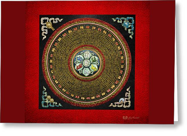 Recently Sold -  - Tibetan Buddhism Greeting Cards - Tibetan OM Mantra Mandala in Gold on Black and Red Greeting Card by Serge Averbukh