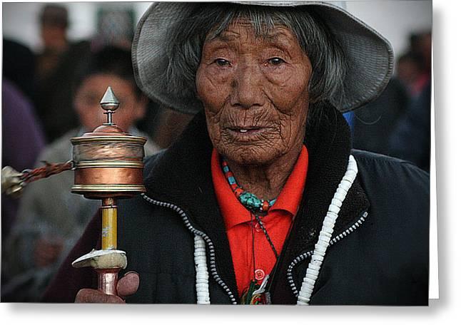 Tibetan Woman Greeting Cards - Tibetan portrait 10 Greeting Card by Hieu Tran