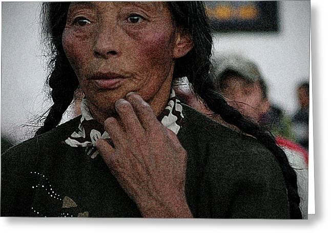 Tibetan Woman Greeting Cards - Tibetan portrait 11 Greeting Card by Hieu Tran