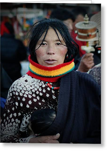 Tibetan Woman Greeting Cards - Tibetan portrait 3 Greeting Card by Hieu Tran