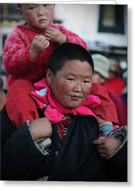 Tibetan Woman Greeting Cards - Tibetan portrait 4 Greeting Card by Hieu Tran