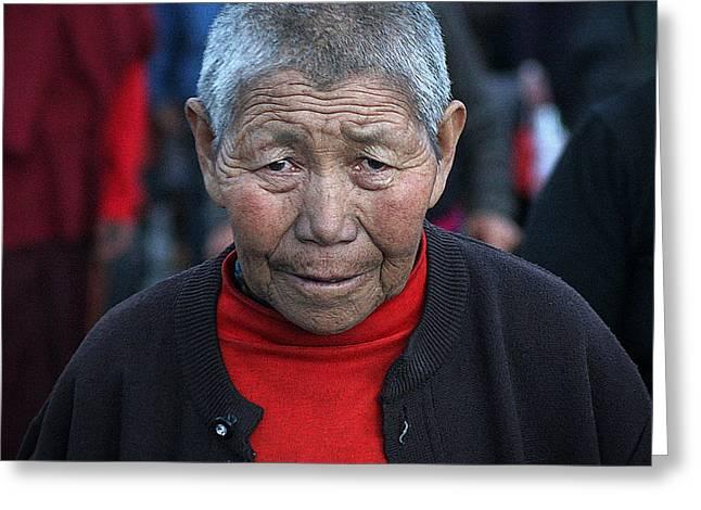 Tibetan Woman Greeting Cards - Tibetan portrait 6 Greeting Card by Hieu Tran