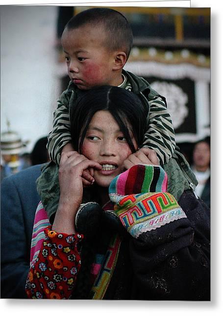 Tibetan Woman Greeting Cards - Tibetan portrait 9 Greeting Card by Hieu Tran