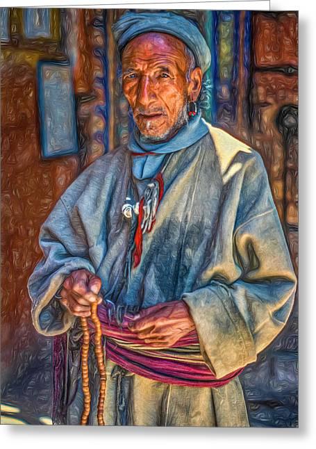 Prayer Beads Greeting Cards - Tibetan Refugee - Paint Greeting Card by Steve Harrington