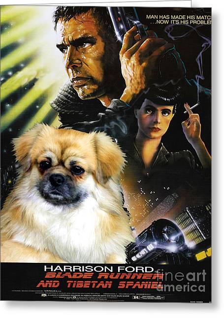 Dog Prints Greeting Cards - Tibetan Spaniel Art - Blade Runner Movie Poster Greeting Card by Sandra Sij