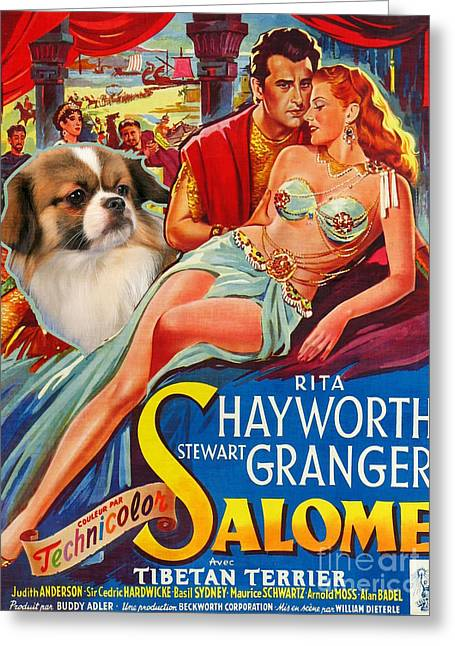 Salome Greeting Cards - Tibetan Spaniel Art - Salome Movie Poster Greeting Card by Sandra Sij