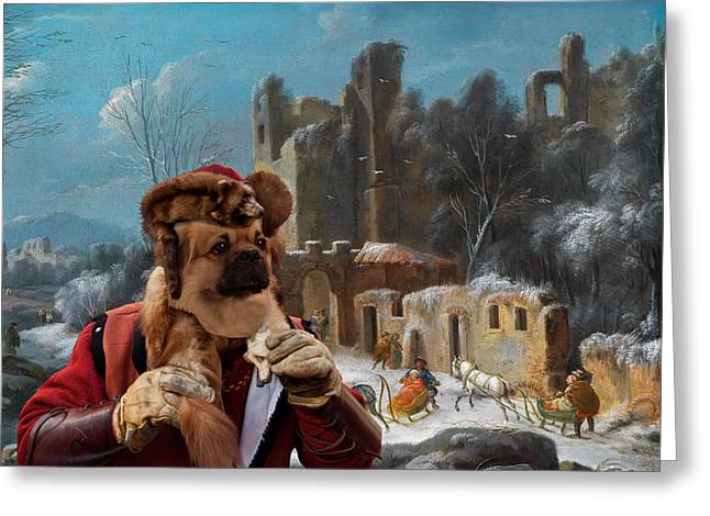 Tibetan Portrait Greeting Cards - Tibetan Spaniel Art Canvas Print by Nobility Dogs Greeting Card by Sandra Sij