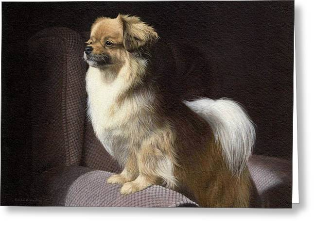 Pet Portrait Artist Greeting Cards - Tibetan Spaniel Painting Greeting Card by Rachel Stribbling