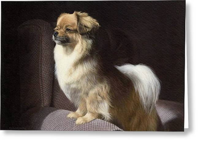 Domestic Greeting Cards - Tibetan Spaniel Painting Greeting Card by Rachel Stribbling