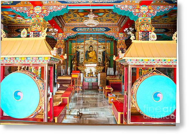 Illuminate Greeting Cards - Tibetan temple - Bodhgaya - India Greeting Card by Luciano Mortula