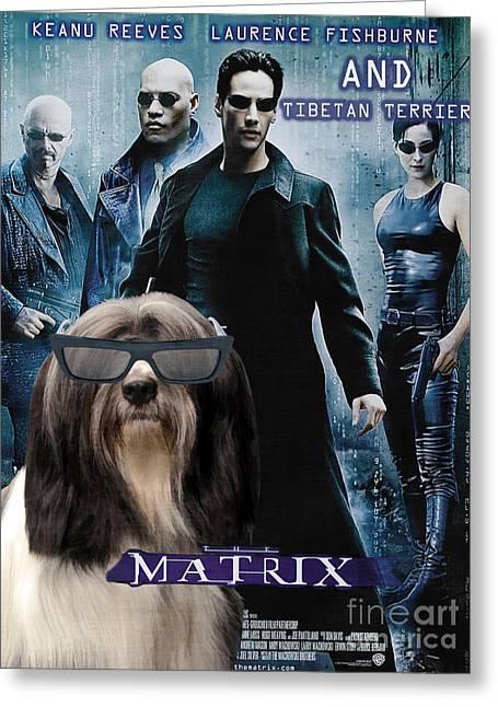 Dog Prints Greeting Cards - Tibetan Terrier Art - Matrix Movie Poster Greeting Card by Sandra Sij