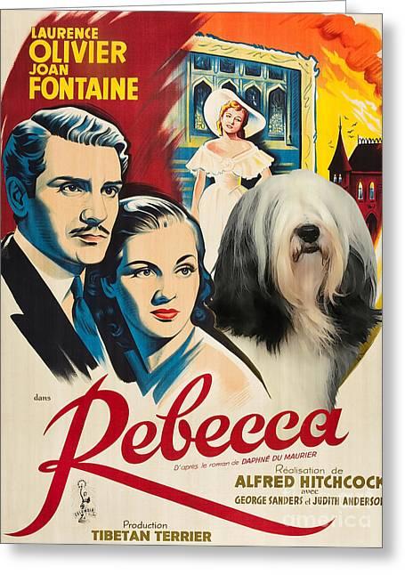 Dog Prints Greeting Cards - Tibetan Terrier Art - Rebecca Movie Poster Greeting Card by Sandra Sij