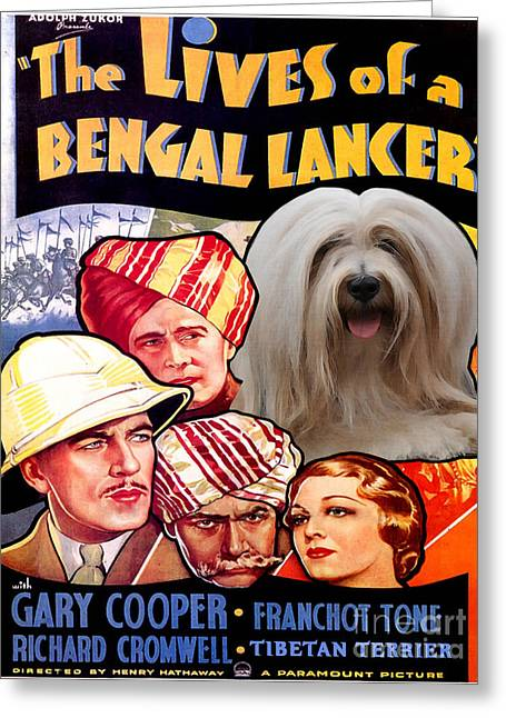 Dog Prints Greeting Cards - Tibetan Terrier Art - The Lives of a Bengal Lancer Movie Poster Greeting Card by Sandra Sij