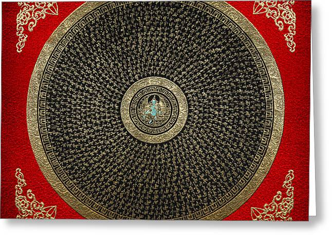 Religious Art Digital Art Greeting Cards - Tibetan Thangka - Green Tara Goddess Mandala with Mantra in Gold on Red Greeting Card by Serge Averbukh