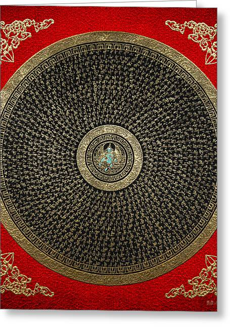 Tibetan Thangka - Green Tara Goddess Mandala With Mantra In Gold On Red Greeting Card by Serge Averbukh