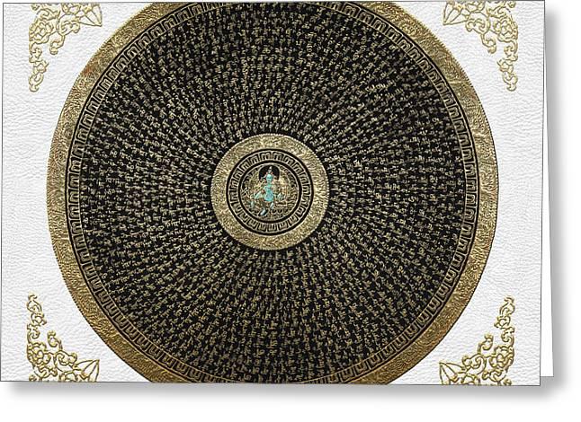 Thangka Greeting Cards - Tibetan Thangka - Green Tara Goddess Mandala with Mantra in Gold on White Greeting Card by Serge Averbukh