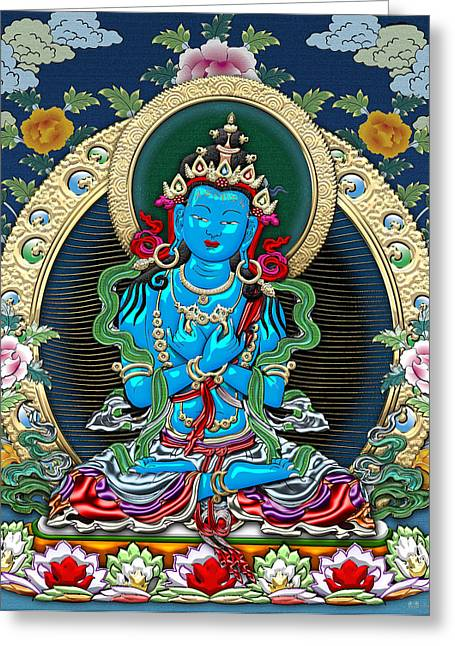 Recently Sold -  - Tibetan Buddhism Greeting Cards - Tibetan Thangka  - Vajradhara -  Dharmakaya Buddha Greeting Card by Serge Averbukh