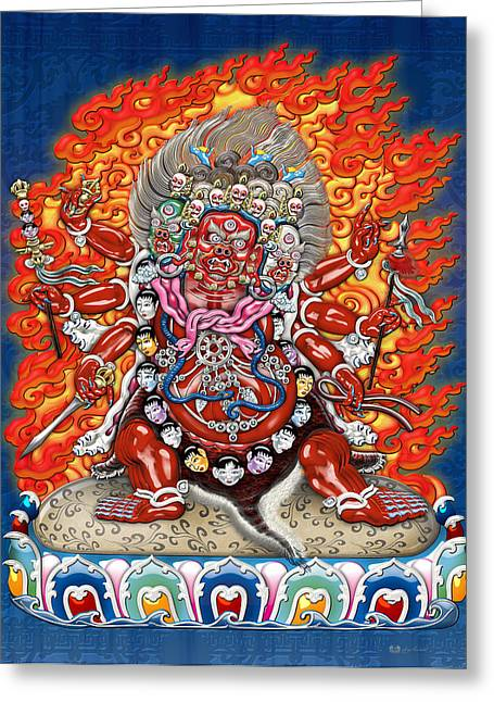 Tibetan Buddhism Greeting Cards - Tibetan Thangka  - Wrathful Deity Hayagriva Greeting Card by Serge Averbukh
