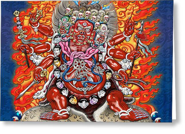 Tibetan Thangka  - Wrathful Deity Hayagriva Greeting Card by Serge Averbukh