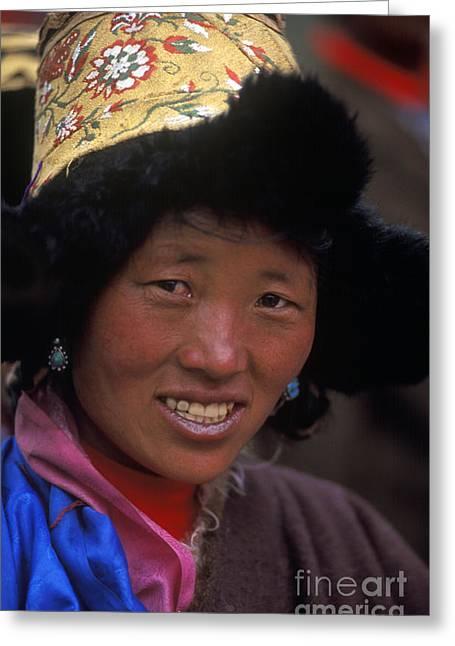 Tibetan Woman In Fur Hat - Tibet Greeting Card by Craig Lovell