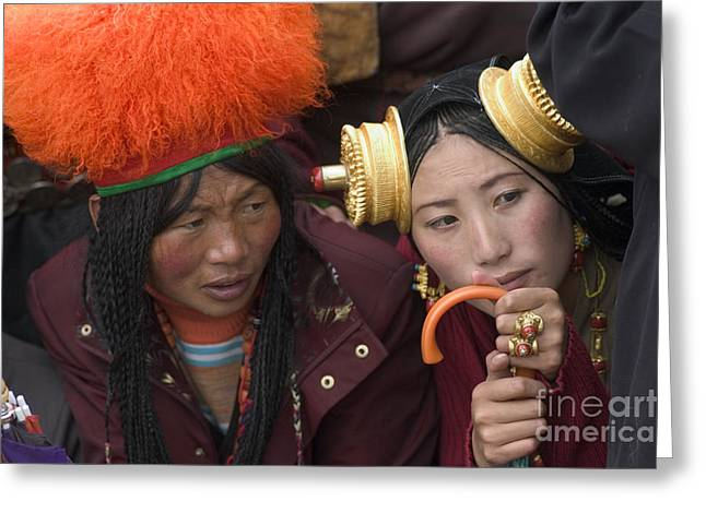 Tibetan Region Greeting Cards - Tibetan Women - Litang Tibet Greeting Card by Craig Lovell