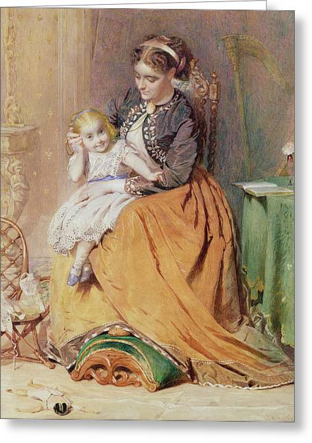Child Toy Drawings Greeting Cards - Tick, Tick, Tick - A Girl Sitting Greeting Card by George Elgar Hicks