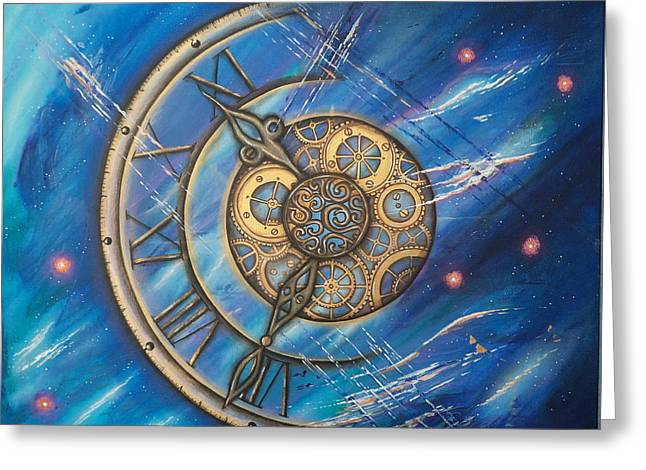 Cog Paintings Greeting Cards - Tick Tock Greeting Card by Krystyna Spink