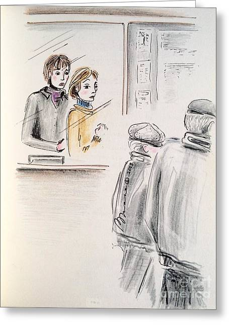 Pondering Drawings Greeting Cards - Ticket Booth Greeting Card by Barbara Chase