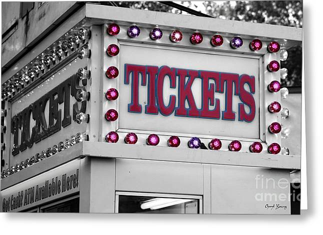 Ticket Booth Greeting Cards - Ticket Booth Greeting Card by Cheryl Young