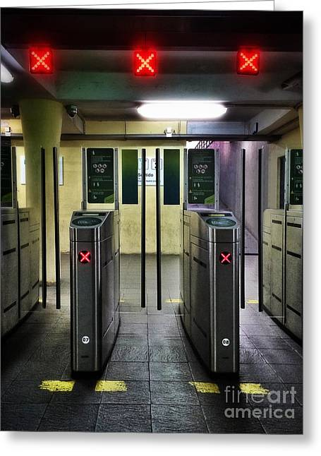 Ticket Gates Greeting Card by Carlos Caetano