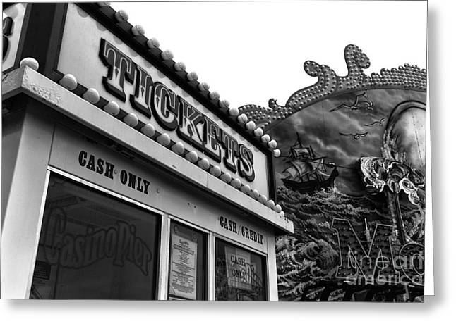 Seaside Heights Greeting Cards - Tickets mono Greeting Card by John Rizzuto