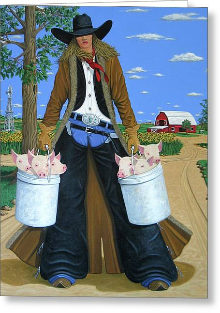 Cowgirl Greeting Cards - Tickled Pink Greeting Card by Lance Headlee