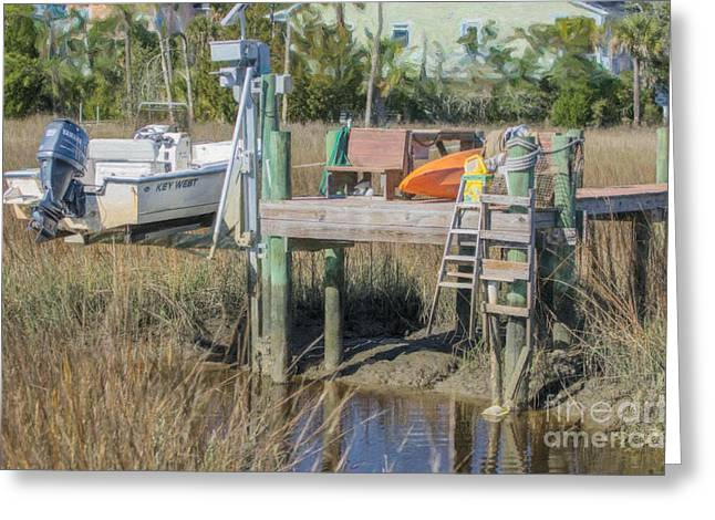 Fishing Creek Mixed Media Greeting Cards - Tidal Creek Greeting Card by Dale Powell