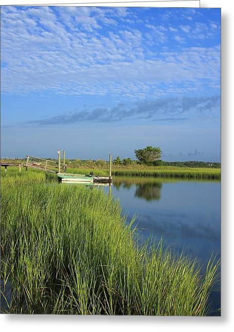 Tidal Photographs Greeting Cards - Tidal Marsh Wrightsville Beach Greeting Card by Michael Weeks