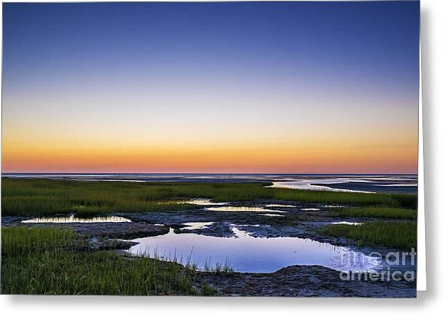 Salt Marsh. New England Greeting Cards - Tidal Pool Sunset Greeting Card by John Greim