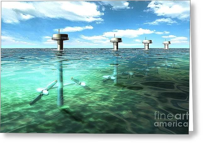Generators Greeting Cards - Tidal Power Plant, Artwork Greeting Card by Hans-ulrich Osterwalder