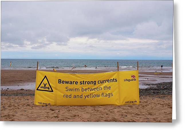 Tidal Warning Sign Greeting Card by Mark Williamson