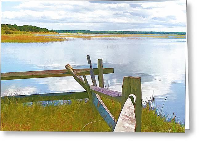 Rose Cottage Gallery Mixed Media Greeting Cards - Tide and Fence Oil Greeting Card by Barbara McDevitt