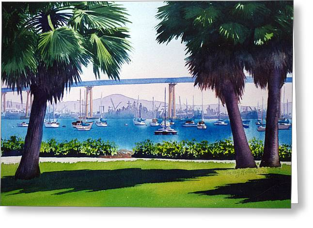 Bay Bridge Greeting Cards - Tide Lands Park Coronado Greeting Card by Mary Helmreich