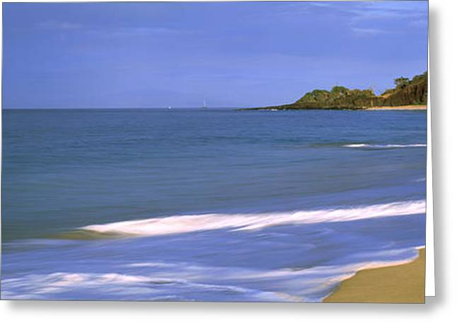 People Greeting Cards - Tide On The Beach, Makena Beach, Maui Greeting Card by Panoramic Images