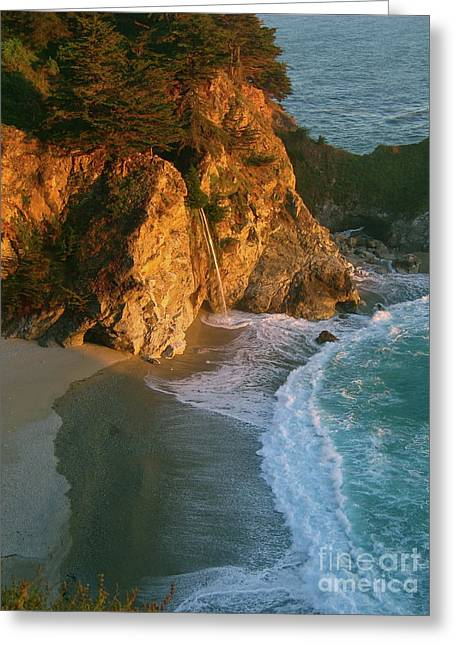 Pfeiffer Beach Greeting Cards - Tidefall Greeting Card by Maureen J Haldeman