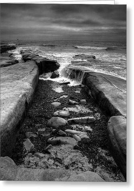 Tide Pools Greeting Cards - Tidepool Falls Black and White Greeting Card by Peter Tellone