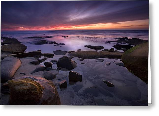 Beach Sunsets Greeting Cards - Tidepools Like Glass Greeting Card by Peter Tellone
