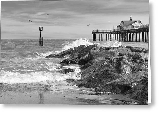 Gills Rock Greeting Cards - Tides Turning - Black and White - Southwold Pier Greeting Card by Gill Billington
